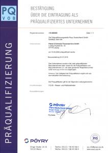 Zertifikat PQ VOB